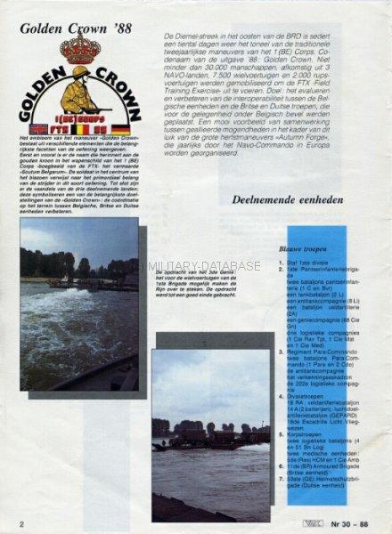 1988 Golden Crown - Article by Belgian Defense